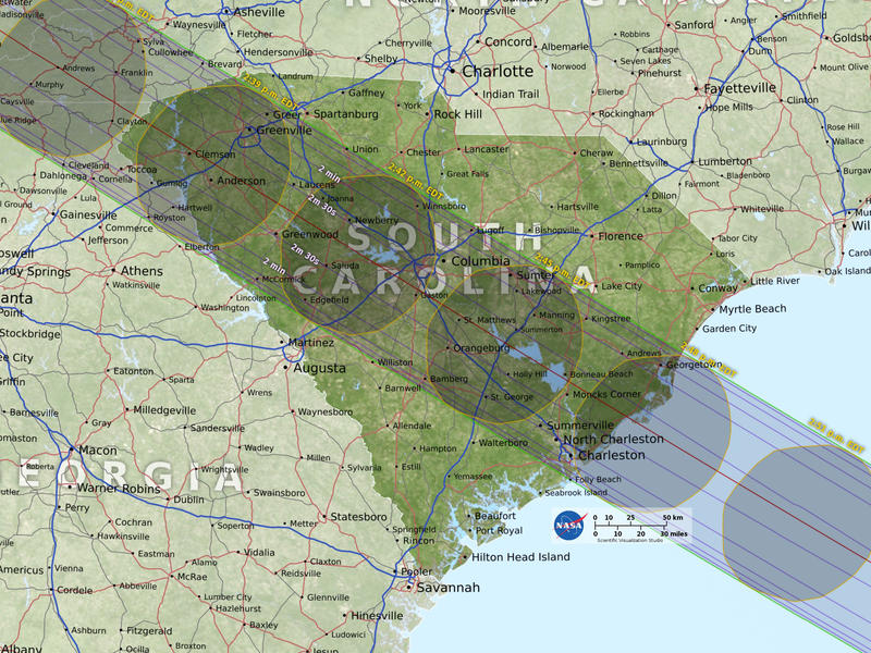 The path of totality passes through a wide swath of South Carolina, making it a popular destination for eclipse tourism.