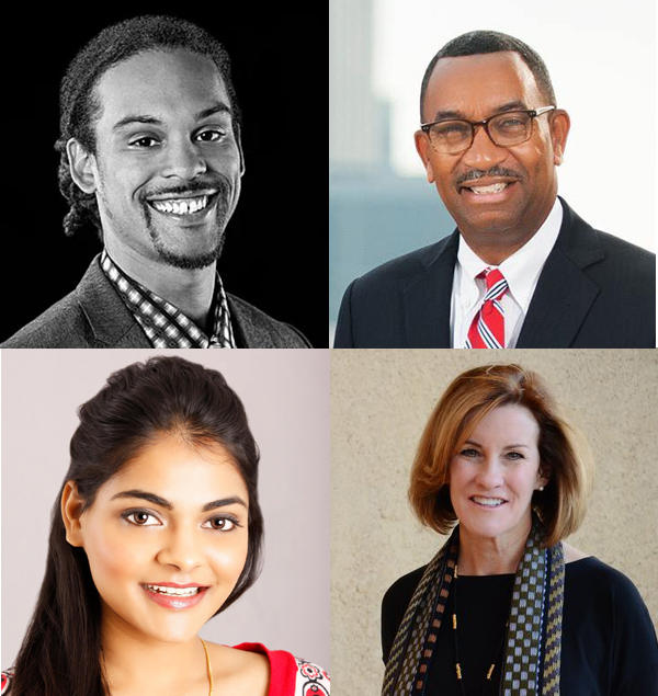 Democratic nominees for city council at-large, clockwise from upper left: Braxton Winston, James Mitchell, Dimple Ajmera and Julie Eiselt.
