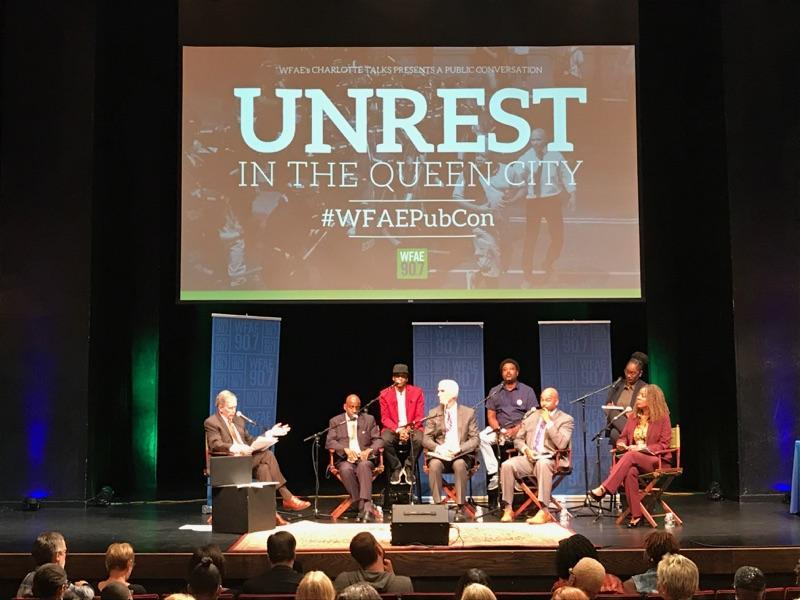 "All the panelists joined a Q&A in the second hour of the forum ""Unrest in the Queen City: One Year Later"" at Spirit Square."
