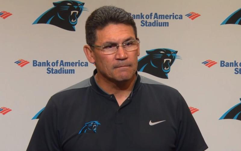 Carolina Panthers Coach Ron Rivera talked about National Anthem protests at a press conference Monday.