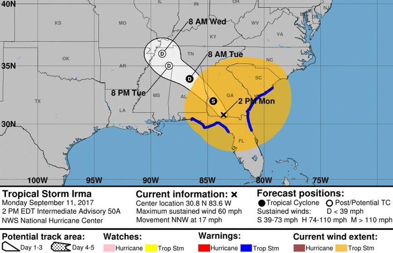 Irma's predicted path is seen here in forecasters' 2 p.m. ET release.