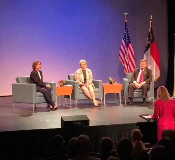 House Speaker Tim Moore (right), UNC System President Margaret Spellings (center), and Acting NC Community College President Jennfer Haygood (left) discuss affordability and access in higher education.