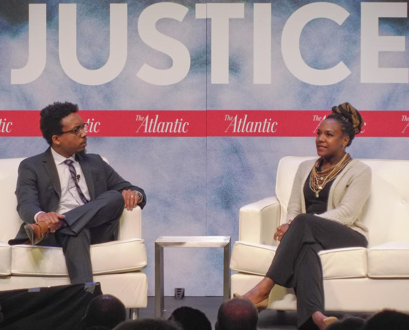 Activist Bree Newsome (right) talks with Atlantic staff writer and Charlotte native Vann Newkirk II.