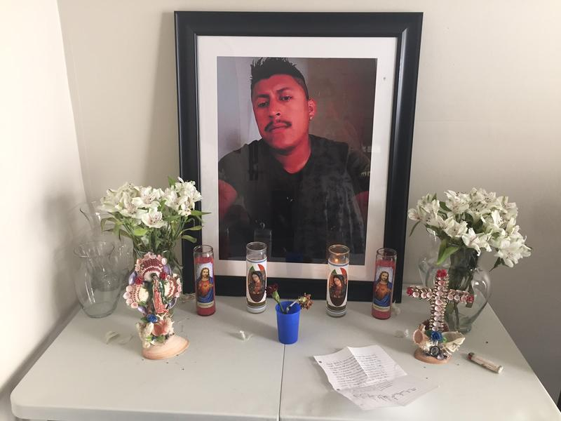 An altar for Rueben Galindo in his home.