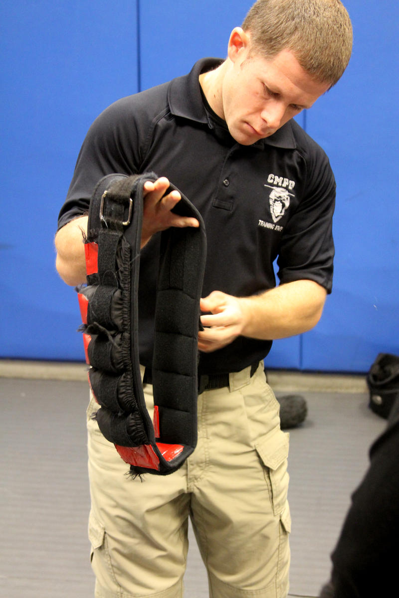 Reporters wore weighted belts to simulate utility belts officers wear.