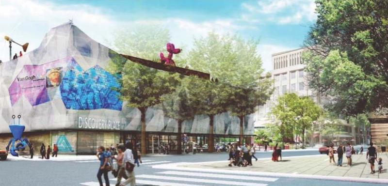 A January presentation to the City Council envisioned a redesigned facade at Discovery Place on North Tryon Street.