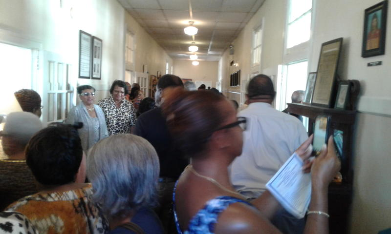 Former alumni of Fairfield High School turned out to take a look at the renovated building and reminisce.