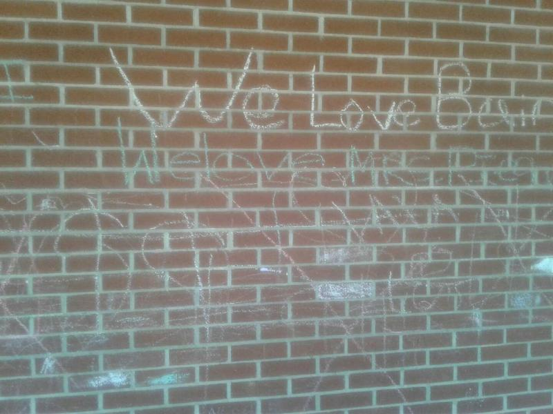 Grafitti adorns some walls at Briarwood Academy in East Charlotte