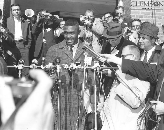 Harvey Gantt stands on the steps of Sikes Hall on the day he entered Clemson University, Jan. 28, 1963.