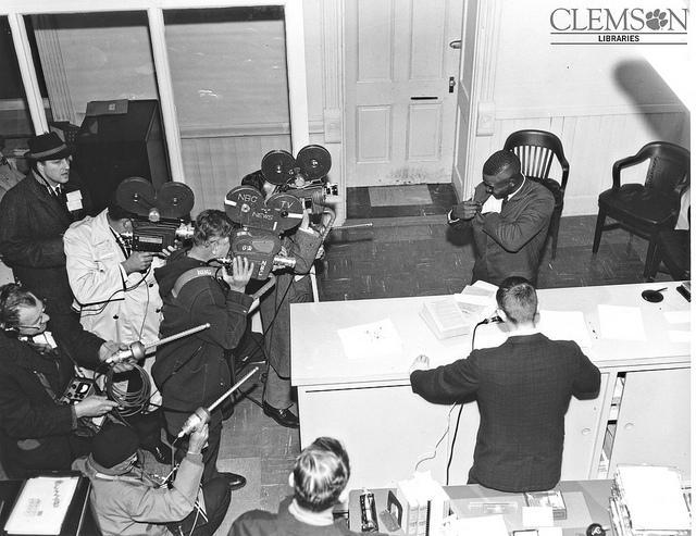 Harvey Gantt registers for classes at Clemson University.