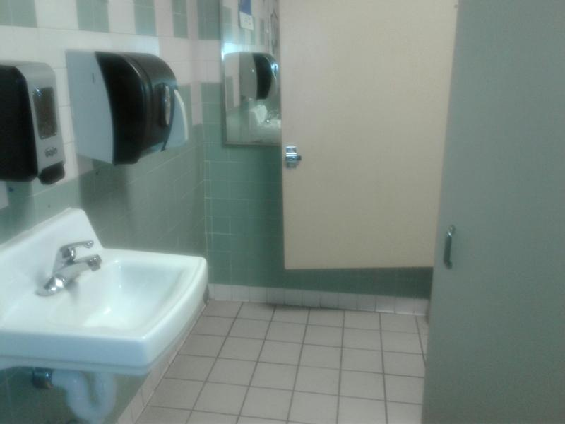 This two-stall hall bathroom, which sometimes floods, is used by more than 240 students taking classes on the same hall