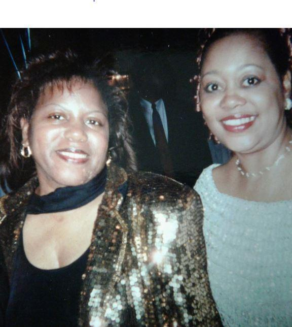 WFAE's Gwendolyn Glenn's sister Teresa Glenn-Gresham, an FHS band trumpet player (l) and cousin Sharon Sims Irby was a majorette, pictured at a FHS reunion banquet.