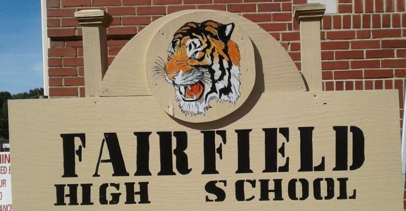 Sign in front of the remaining academic building at Fairfield High, donated by the Class of 1964.