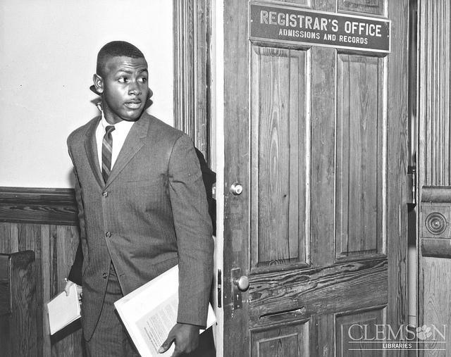 Harvey Gantt, outside the Registrar's office.