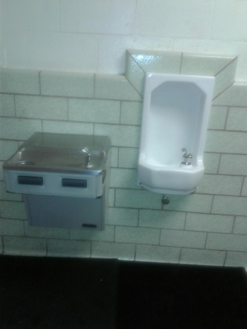 Rugs are placed under leaky water fountains at Briarwood Academy