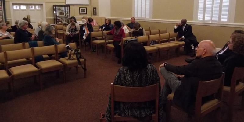 About 25 people attended the forum, organized by Mecklenburg Ministries, in the chapel at Park Road Baptist Church.
