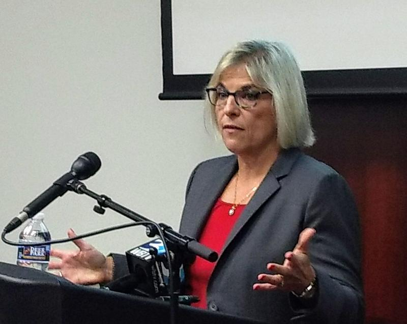 Mecklenburg County Manager Dena Diorio talked to reporters Wednesday about this week's hacker attack on county servers.