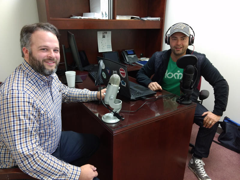 "Charlotte City Council members Larken Egleston (left) and Tariq Bokhari have a new podcast called ""R&D in the QC,"" posted after council meetings."