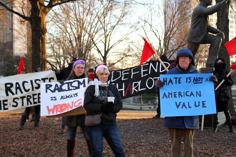 There were other demostrators at the rally including 74 year old Bill Dudley (right)