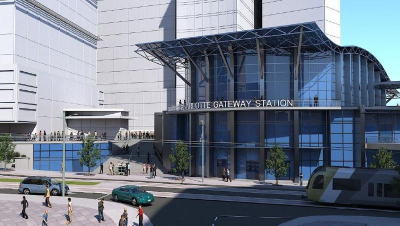 An architect's drawing of the proposed Charlotte Gateway Station on West Trade Street.