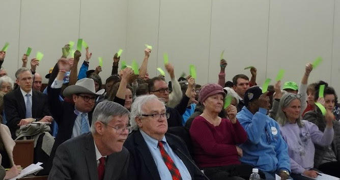 Opponents of Duke Energy's rate hike waved green paper to show support for a speaker at Tuesday's hearing in Charlotte.