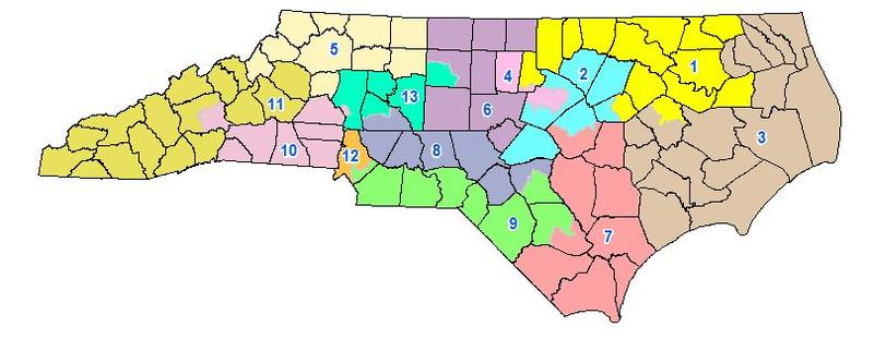 NC congressional map approved by lawmakers in 2016 and found to be a partisan gerrymander by a three-judge panel Tuesday.