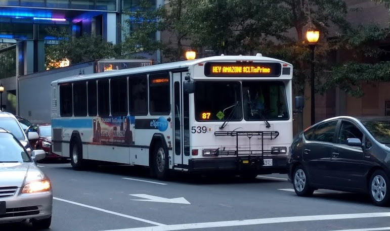 "In October, Charlotte Area Transit System added slogans to buses saying ""Hey Amazon! #CLTisPrime"""