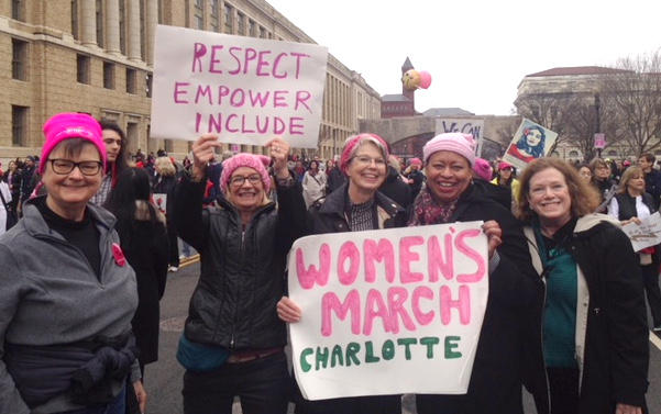 Charlotte women marched in Washington, D.C., one year ago, then returned to Charlotte to help form a new women's organization. From left, Marsha Ford, Ellen Dalton Creede, Jan Anderson, Toni Freeman, Kay Ethridge.