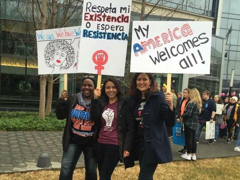 Gail Chauncey with her friends, Esther Torres, and Jennifer Rogers De La Jara at the Women's March on Washington.