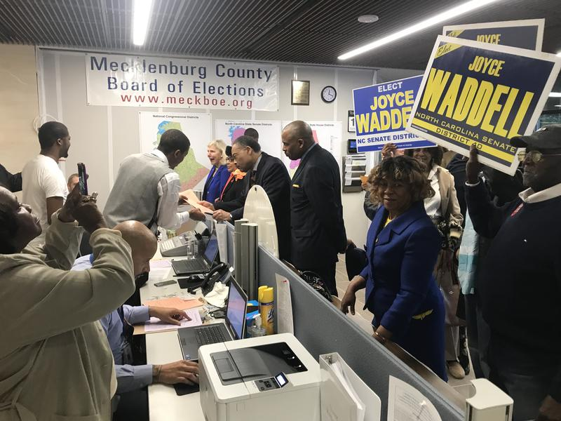 Democrat Joyce Waddell (right) and other state legislators from Mecklenburg County were among the first to register Monday for as candidate filing opened for the 2018 elections.