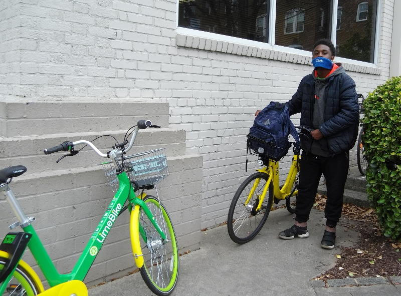 Joshua Artis uses dockless bikes now instead of walking or taking the bus. It's more convenient, he says.s
