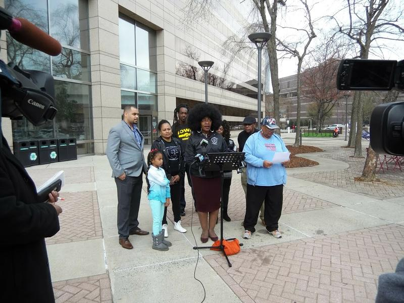 Corine Mack of the Charlotte NAACP spoke at Tuesday's press conference at the Government Center.