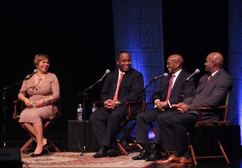 Panelists at the Charlotte Talks Public Conversation: Building An Inclusive City. From left: Charlotte Mayor Vi Lyles, District Attorney Spencer Merriweather, City Manager Marcus Jones and Police Chieff Kerr Putney.