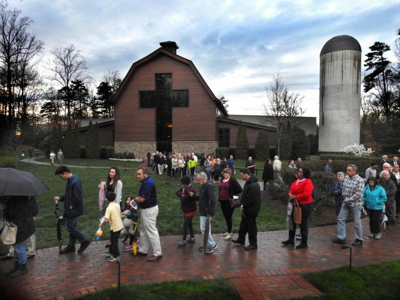 Members of the public visit the Billy Graham Library in Charlotte, North Carolina, to honor Billy Graham as his body lies in repose at the Graham Family Homeplace.