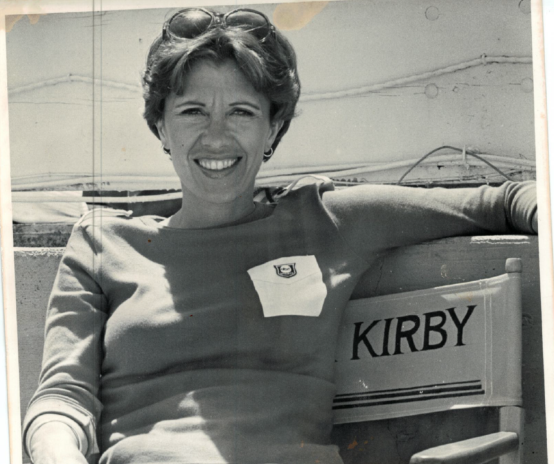 Andrea Kirby on the set of College Football Scoreboard in the '70s.