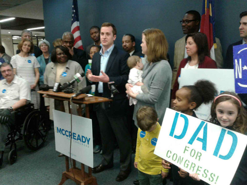 Democrat Dan McCready surrounded by family and supporters as he prepares to file to run for the 9th District Congressional seat