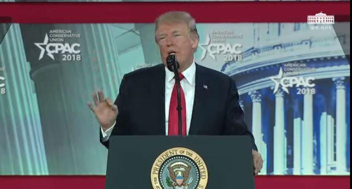 President Trump speaking at C-PAC in Oxon Hill, Maryland.
