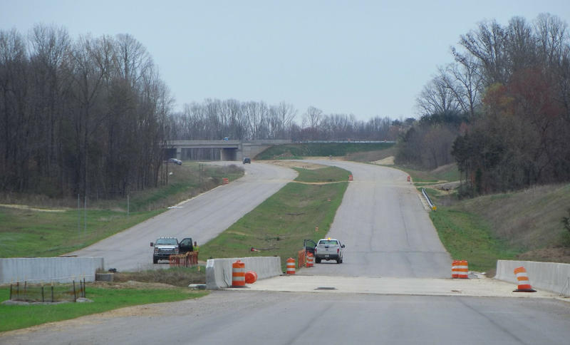 A stretch of the Monroe Expressway north of Monroe, which is nearing completion.