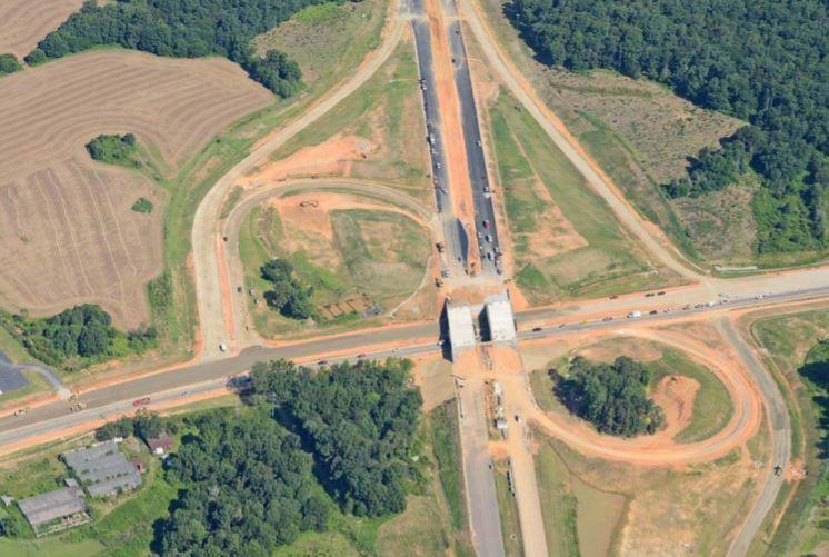 Aerial view of the Monroe Expressway at US 601 near Monroe.