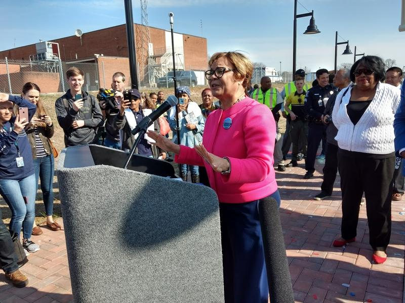 Mayor Vi Lyles addresses the crowd after a ribbon cutting Friday at the new 9th Street Station.
