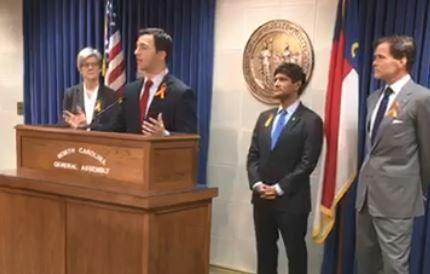 State Sen. Jeff Jackson (D-Charlotte) spoke at a state capitol press conference Monday with fellow Democrats calling for passage of new gun controls.