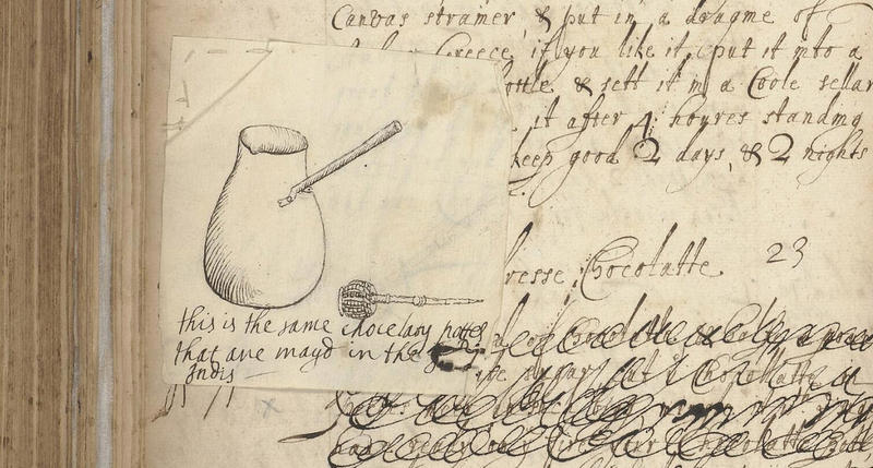 A sketch of a chocolate pot and whisk drawn from Ann's Experiences in Spain in the mid-1660s.