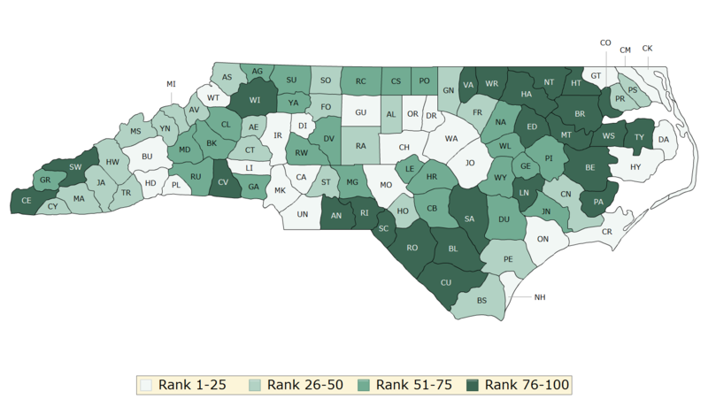 The 2018 North Carolina health outcomes map.