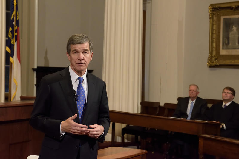 Governor Roy Cooper at swearing in ceremony, Jan. 2017
