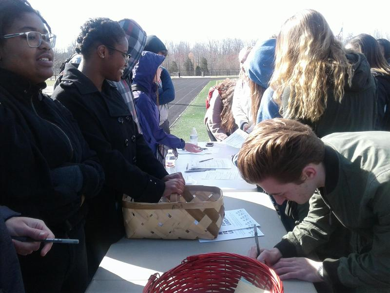 At William Amos Hough High School, students set up voter registration tables to go along with their demonstration on gun violence.