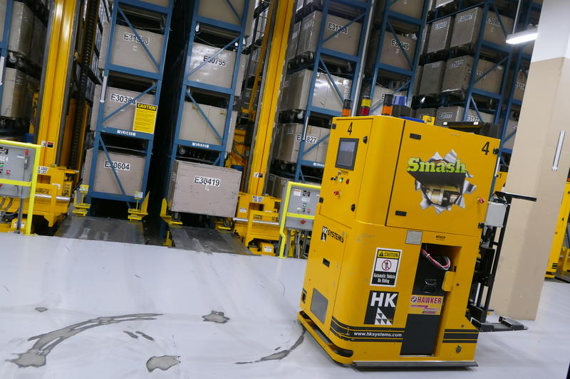 """Smash"" is one of four automated guided vehicles that help maintain the vault."