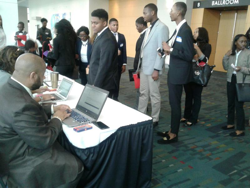 Students line up to enter the CIAA's career expo where recruiters from across the country set up interview booths
