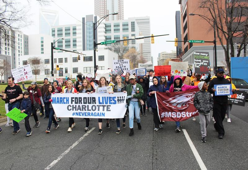 Demonstrators took to the streets to march for gun control at the March For Our Lives event in Charlotte.
