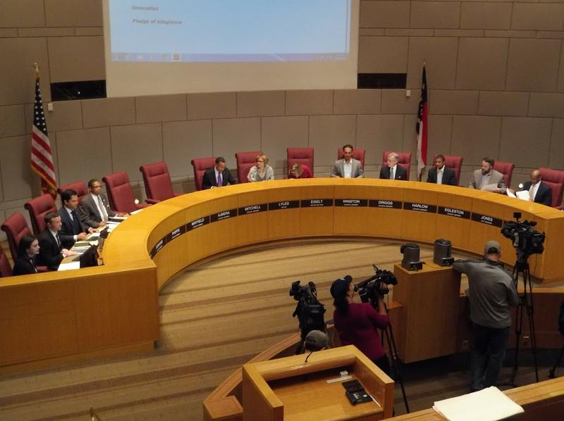 Charlotte City Council members assembled for their meeting Monday night.