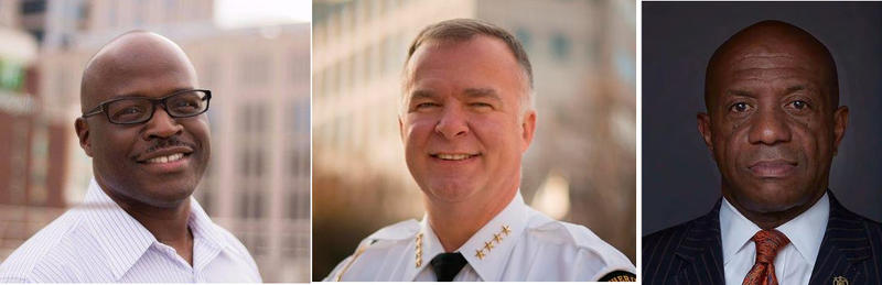 Mecklenburg County's sheriff candidates are, from left, Antoine Ensley, Irwin Carmichael and Garry McFadden.